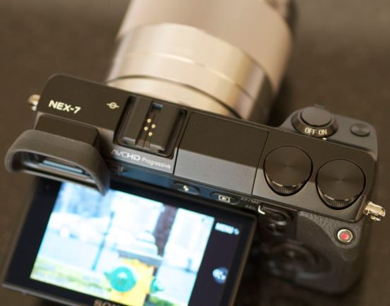 Top view of the Sony Nex7 and its Tri-Navi controls.