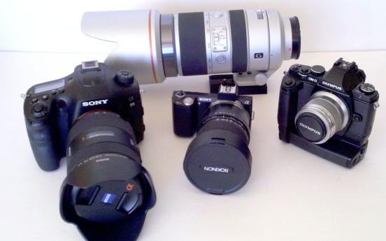 The Sony A99, Nex5n and Olympus EM5 ... shot with a crappy camera phone